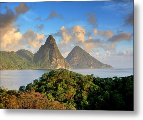 The Pitons - Saint Lucia Metal Print by Brendan Reals