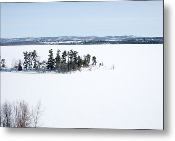 The Point In Winter Pinheys Point Ontario Metal Print