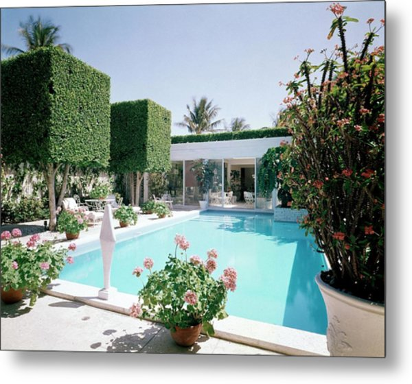 The Pool And Garden Of A Home Metal Print