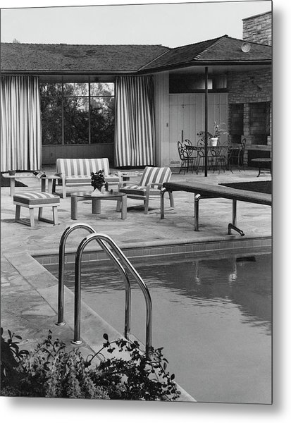 The Pool And Pavilion Of A House Metal Print