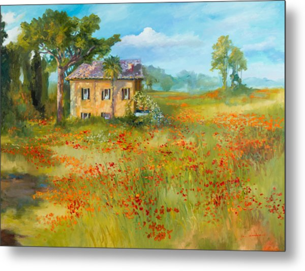 The Poppy Fields Of Tuscany Valley Metal Print
