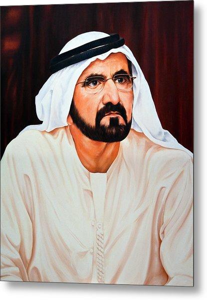 The Portrait Of His Highness Sheikh Mohammed Bin Rashid Al Maktoum Metal Print by Jivan Hovhannisian