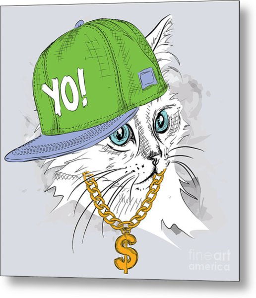 The Poster With The Image Cat Portrait Metal Print