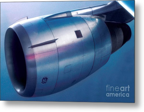 The Power Of Flight Jet Engine In Flight Metal Print
