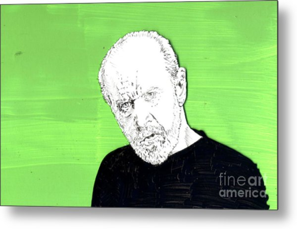 the Priest on Green Metal Print
