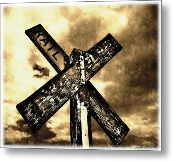 The Railroad Crossing Metal Print