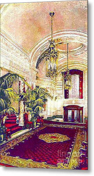 The Rector Hotel Lobby Staircase In 1910 Metal Print by Dwight Goss