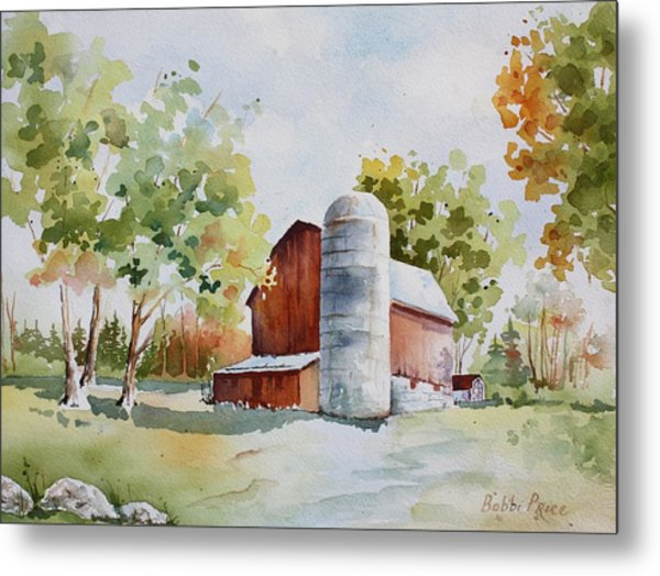 The Red Barn Metal Print by Bobbi Price