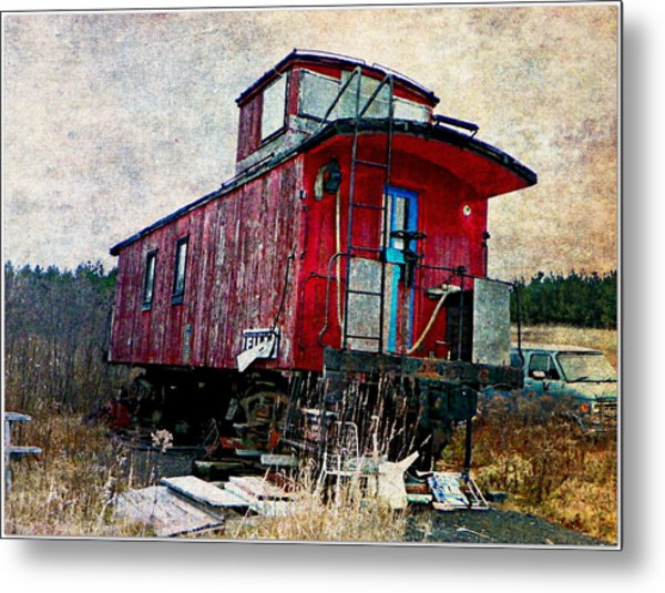 The Red Caboose Metal Print by Dianne  Lacourciere
