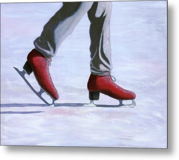 The Red Ice Skates Metal Print