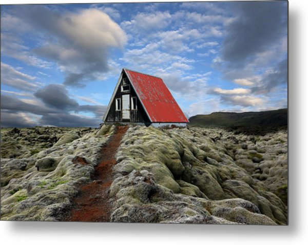 The Red Path To The Red Roof Metal Print by Michel Romaggi