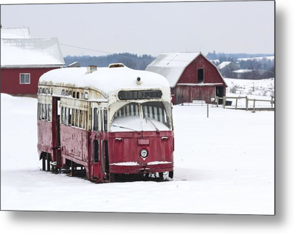 The Red Streetcar Metal Print