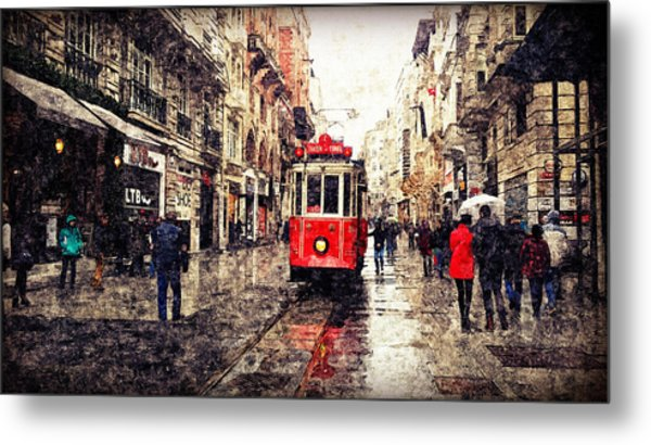 The Red Tram 2 Metal Print