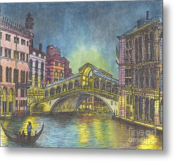 Relections Of Light And The Rialto Bridge An Evening In Venice  Metal Print