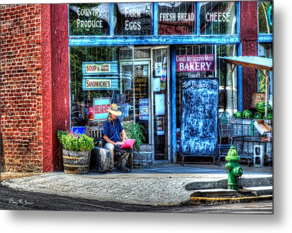 Figure On Bench - The Right Corner Metal Print by Barry Jones