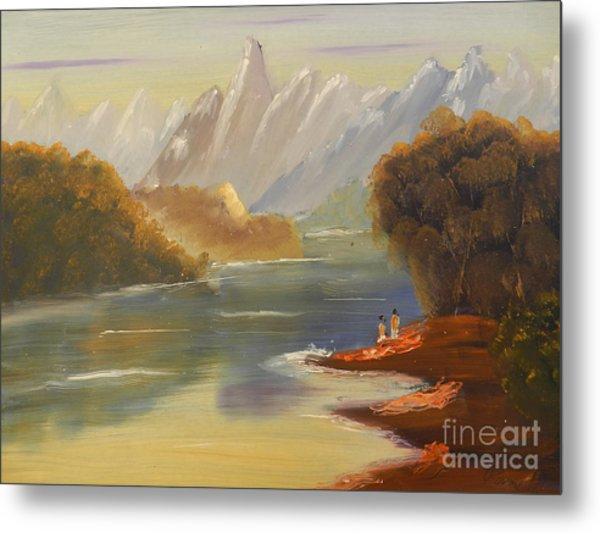 The River Flowing From A High Mountain Metal Print