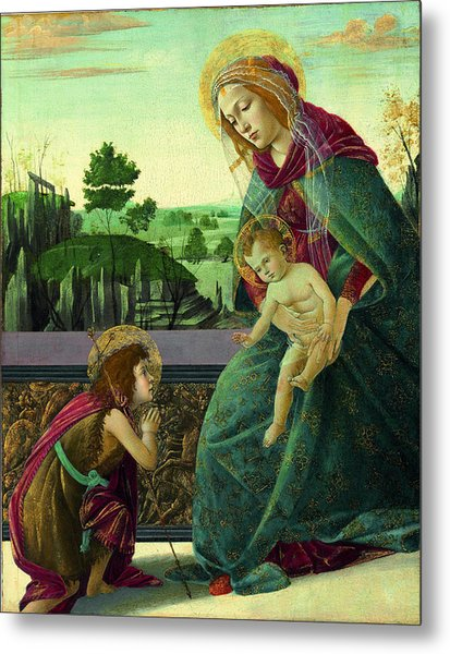 The Rockefeller Madonna. Madonna And Child With Young Saint John The Baptist Metal Print