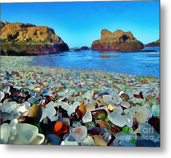 Glass Beach In Cali Metal Print