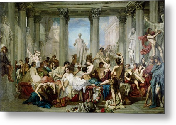 The Romans Of The Decadence, 1847 Oil On Canvas Metal Print