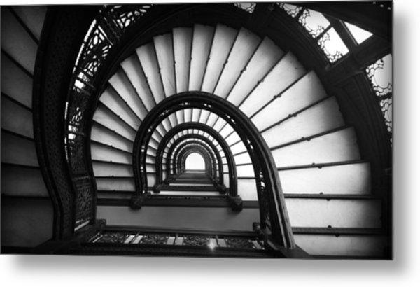 The Rookery Staircase In Black And White Metal Print
