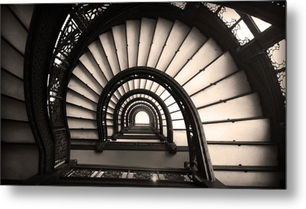 The Rookery Staircase In Sepia Tone Metal Print