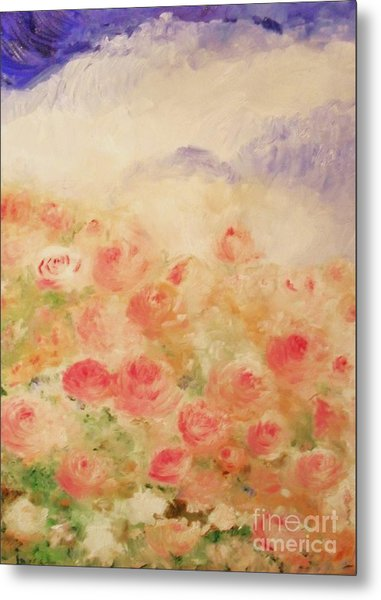 Metal Print featuring the painting The Rose Bush by Laurie Lundquist