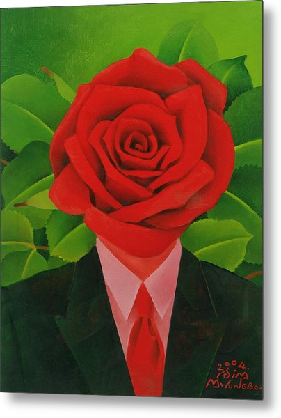 The Rose Man, 2004 Oil On Canvas Metal Print