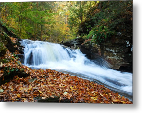 The Rushing Waterfall Metal Print