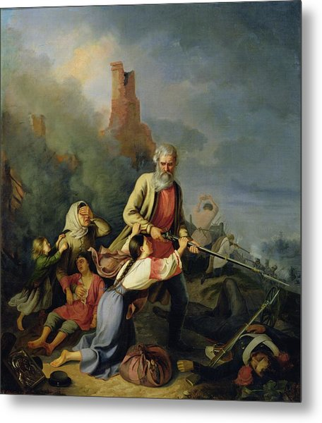 The Russians In 1812, 1855 Oil On Canvas Metal Print