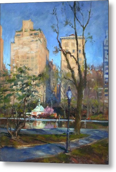 The Sailboat Pond In Central Park Metal Print
