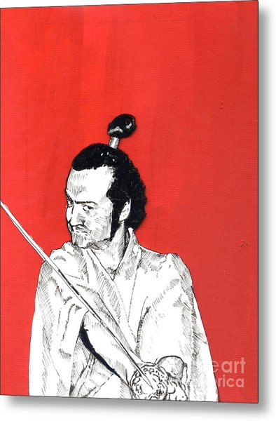 The Samurai On Red Metal Print