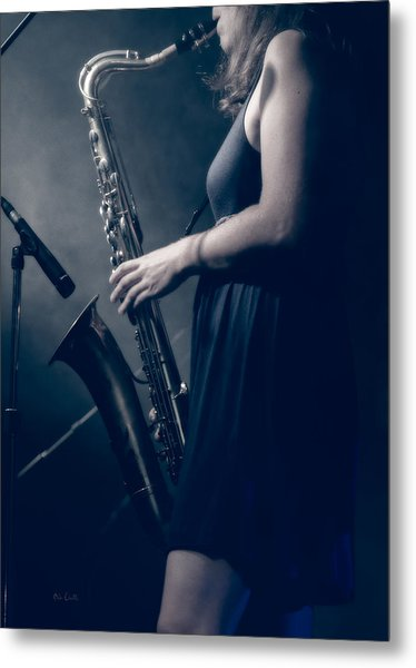 The Saxophonist Sounds In The Night Metal Print