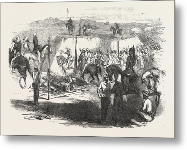 The Sikh Cavalry Deliveling Up Their Arms At Rawul Pindee Metal Print
