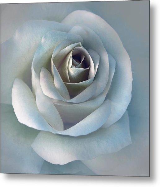 The Silver Luminous Rose Flower Metal Print