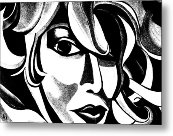 Black And White Abstract Woman Face Art Metal Print