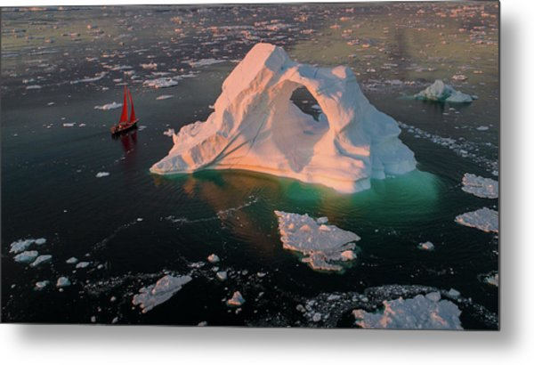 The Small Red Boat Metal Print