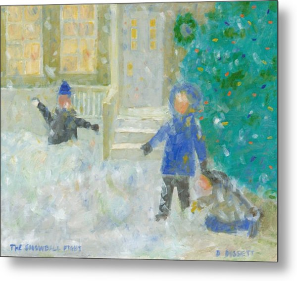 The Snowball Fight Metal Print
