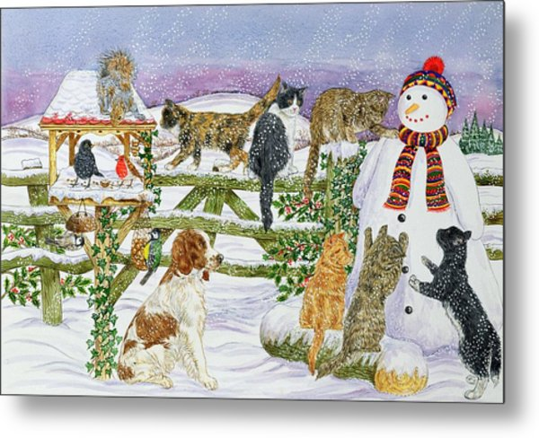The Snowman And His Friends  Metal Print