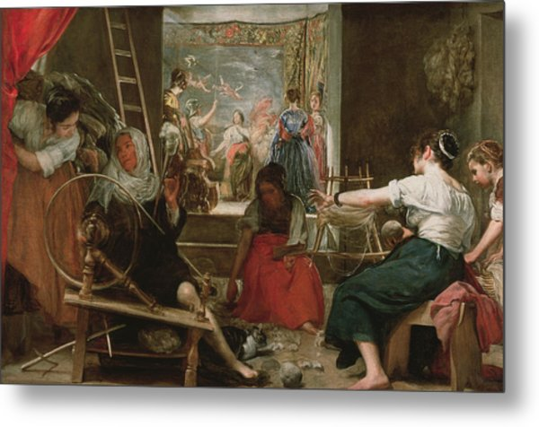 The Spinners, Or The Fable Of Arachne, 1657 Oil On Canvas See 91618 For Fully Restored Version Metal Print