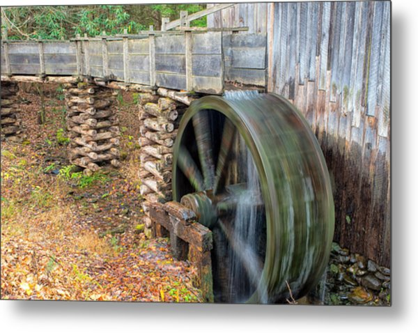 The Spinning Water Wheel Metal Print