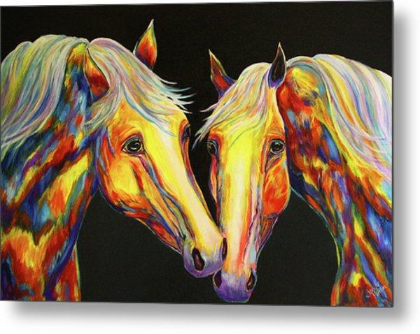The Stallion Kiss Paint Horses Metal Print