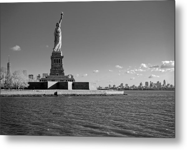 Statue Of Liberty And Freedom Tower Metal Print