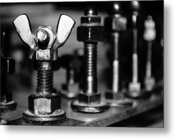The Strategic Wing Nut Metal Print
