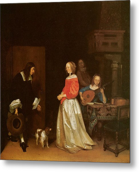 The Suitor's Visit Metal Print by Gerard Terborch