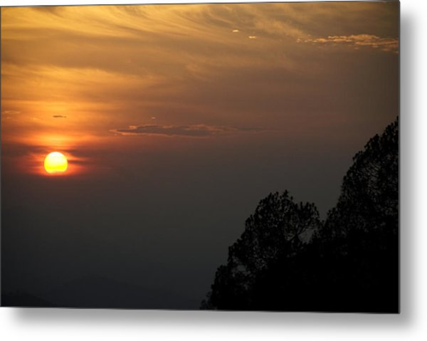 The Sun Behind The Trees Metal Print