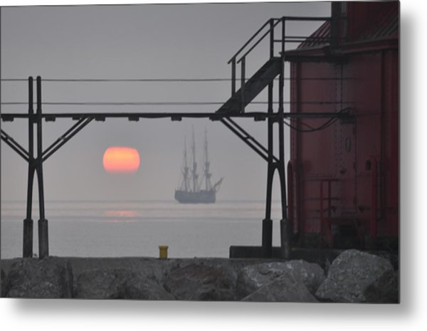 The Sunrises On A Tall Ship In Door County Metal Print