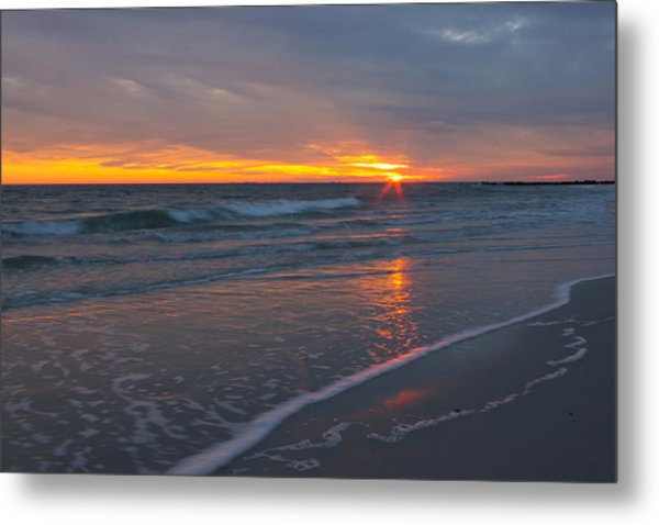 The Sunset Kissing The Waves Metal Print