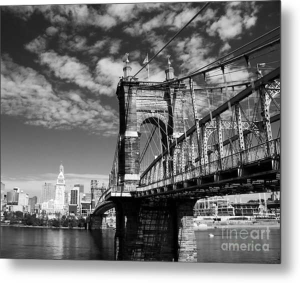 The Suspension Bridge Bw Metal Print