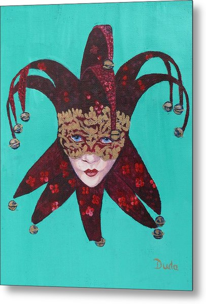 The Sweetheart Of Arlecchino Colombina Venitian Mask Metal Print