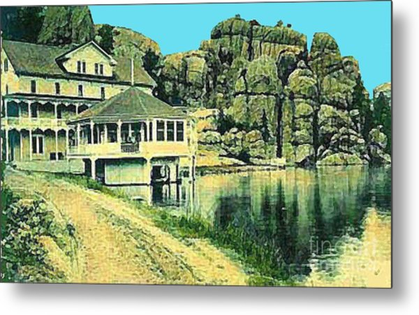 The Sylvan Lake Hotel In Ouster Sd C.1910 Metal Print by Dwight Goss